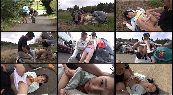 二人の男がひと気のない道を歩く女の子を拉致し、スクラップ場のような空き地で輪姦しているエロ動画