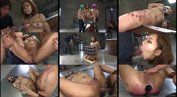 【凌辱動画】鼻フックと乳首洗濯バサミされた女が三角木馬に鞭打ちや太腿ブロックなどの拷問をされ最後に中出し