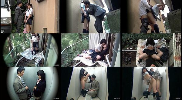 【JK盗撮】女子校生の公衆便所や野外でヌイてくれる援●現場を盗撮!
