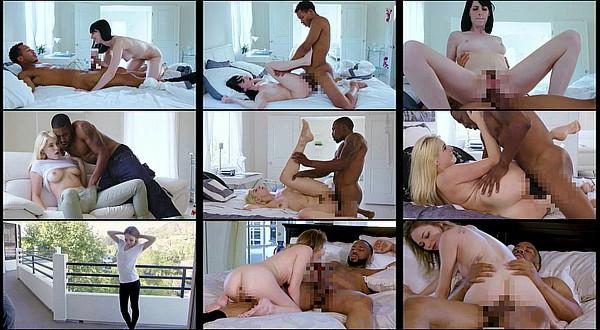 【外国人エロ動画】モデルみたいな白人美女の美しい白尻にマッチョな黒人男のデカチン挿入!