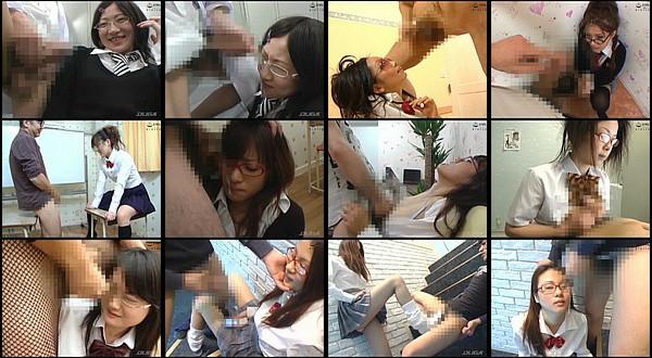 【エロ動画】制服着た可愛いメガネ女子にセンズリ見せつけ顔射!