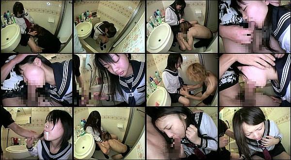 【エロ動画】女学生がオシッコしてるトイレに押し入りクンニしたりフェラさせて口内射精するヤバい男