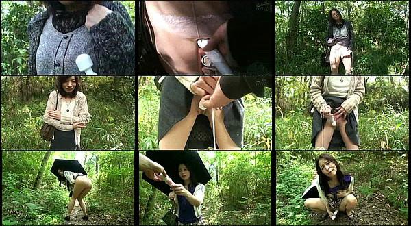 【エロ動画】性欲が衰えない熟女達をひと気の無い茂みで電マオナニーさせる野外羞恥プレイ