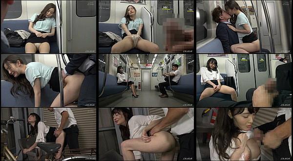【エロ動画】向かいの座席でパンチラしてくるホロ酔い美脚痴女と相互オナニーしてたらSEXまでしちゃった!