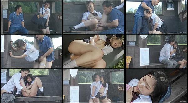 【凌辱動画】バス停で雨宿り中のびしょ濡れ女子生徒に襲い掛かり強制中出し&顔射!前乃菜々・天沢ゆきね